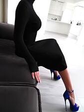 SCHWARZ WARM KLEID STRETCH LANGE Strickkleid BEST FIT Damen R79 Black Dress M