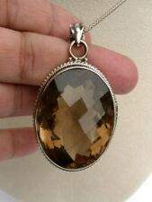 HUGE 116 CT Smoky Quartz Pendant Oval Cushion Sterling Silver 925 w/chain