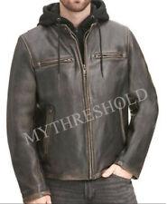 Mens Vintage Hooded Distressed Black Winter Leather Jacket - Removable Hood