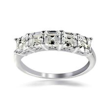 925 Silver Asscher Cut CZ 5 Stone Anniversary Band Ring, Size 6