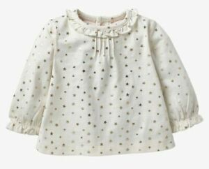 Ex Baby Boden Girls Ruffle Collar Twinkle Star Top Blouse 3 6 12 18 24 RRP £20