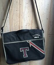 "TOMMY HILFIGER Crossbody Messenger Bag Blue Denim Letter ""T"" Shoulder Satchel"