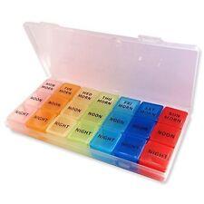 21 Slot Pill Case ~ 7 Day Medication Storage Case, AM PM Organiser Dispenser Box