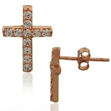 Sterling Silver Rose Gold White Crystals Classic Cross Religious Stud Earrings