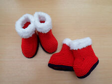 Hand Knitted Buggy Baby Bootees Slippers Red White Christmas 3-6 months