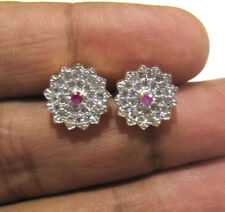 Exclusive White Cubic Zirconia Ruby AD Gold Plated Stud Earrings Fashion Jewelry