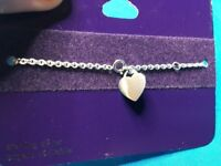 New Claire's Sterling Silver Dangling Heart Shaped Pendant Chain Bracelet