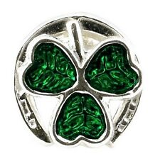 STERLING SILVER ENAMELLED LUCKY HORSE SHOE CLOVER BEAD CHARM