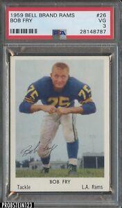 1959 Bell Brand Rams #26 Bob Fry Los Angeles Rams PSA 3 VG