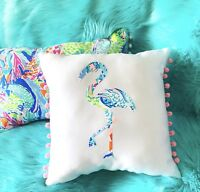 NEW Flamingo pillow made with LILLY PULITZER Mermaid Cove fabric