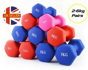 Neoprene Dumbbells 2-6kg Pair Fitness Weights Cast Iron Home Aerobic Exercise