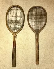 Pair Of Antique Wood Tennis Racquets As-Is Condition For Display