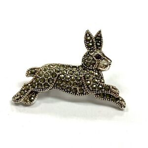 Art Deco Style Rabbit Pin Brooch with Marcasite and Ruby 925 Sterling Silver