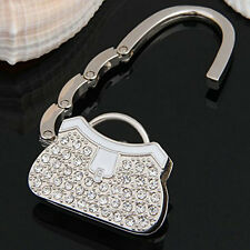 Metal RhInestone Folding Handbag Purse Table Hook Hanger Holder White+Siver 1x