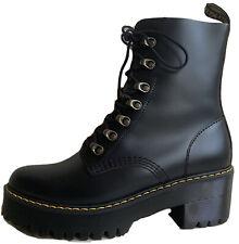 Dr. Martens Leona 7-Eye Hiker Boot Black Vintage Smooth Leather Sz US 8 EU 40