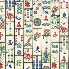 Timeless Treasures Mahjong Tiles Game C4816 100% cotton fabric by the yard