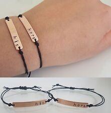 His and hers bracelet ,14k gold filled, choose name/ string colour 2 BRACELETS.