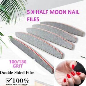 5x Nail Files Double Sided 100/180 Grit File Emery Board Half Moon Set Kit UK
