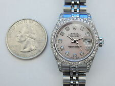GENUINE ROLEX DIAMOND OYSTER PERPETUAL DATEJUST WITH HIDDEN CLASP BAND BRACELET