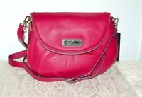 NWT $368 Marc by Marc Jacobs Medium Natasha Leather Crossbody Bag PEONY Silver