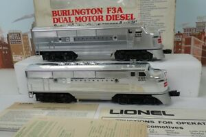Lionel O Gauge No.6-8054 Chrome Burlington F-3 AA Unit Diesel Engine Set W/ Box
