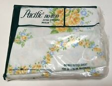 Vintage Pacific Full/Double Fitted Sheet Shabby Rose Clusters Floral Yellow Blue