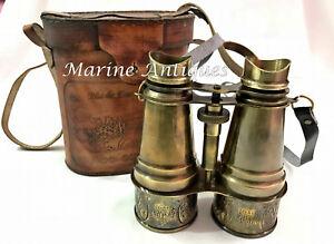 "6"" Antique Maritime Brass Binoculars Vintage Nautical Decor Telescope With Cover"