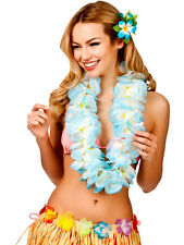 Hawaii Sky Blue/White Petal Lei Flower Hula Fancy Dress Garland Necklace 11.5cm