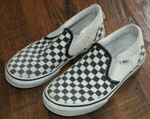 Youth Size 4 Vans Off The Wall Black White Checkered Slip-On Shoes Kids
