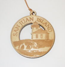 San Juan Island Lighthouse Ornament Engraved Birch Wood New Washington Souvenir