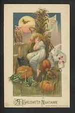 Halloween postcard Winsch 4.2-3 Artist Schmucker Witch black cat clown owl RARE!