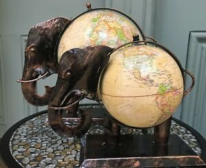 Fair Trade Decorative Elephant Cream Globe Vintage World Map Small & Large