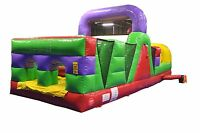 Commercial Inflatable 30' Retro Obstacle Course Slide Rock Wall Bounce House FS