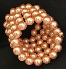 Signed Monet Bracelet Peach Pearl Wrap Design Classic High End Vintage OBB