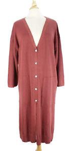 Gudrun Sjoden Button Down Long Cardigan Sweater Linen Blend Knit Rust size Large