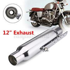 12″ Motorrad Ausspuff Auspuffanlage mit Halter Silber Für Harley Cafe Racer DE
