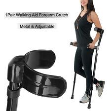 1 Pair Metal Adjustable Walking Aid Forearm Cuff Crutches Elbow Armor Black