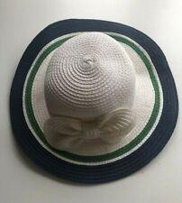 Janie & Jack Sweet Green Navy Blue & White Spring Straw Hat w/ bow  0-6 mo NWT