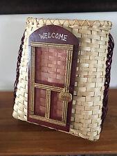 New Handwoven Basket Welcome Basket Screen Door Reed Burgundy Gold Handle