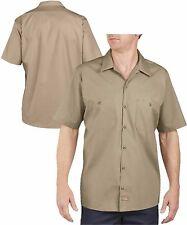 Dickies Work Shirts Men Short Sleeve LS535 Khaki - (Regular Fit)  Size Large