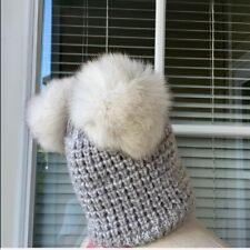 🦊🇨🇦 NEW KYI KYI CANADA Extra BIG Fox Fur PomPom Beanie Hat