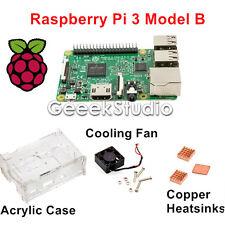 2016 Raspberry Pi 3 Model B Starter Kit With Acrylic Case+Cooling Fan+Heatsinks