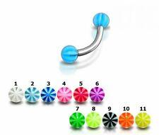 Eyebrow Bars 5 UV Beachball Curved Barbells Earring Rook Snug Piercing 16g 8mm