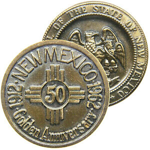 NEW MEXICO 1962 Golden (50th) Anniversary of Statehood Medal, Zia Sun Symbol.