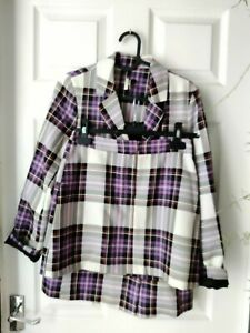 Topshop suit size 6 six co-ord clueless matching set purple checked tartan