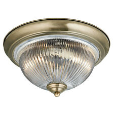 Art Deco Flush Bathroom Ceiling Light in Antique Brass with Glass Shade IP44