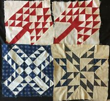 Antique Quilt Blocks Red/white and Blue/white (4) C1900