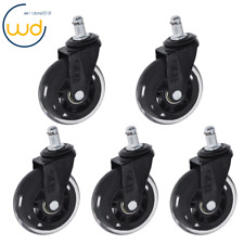 5pcs Office Chair Caster Rubber Swivel Wheels Replacement Heavy Duty 3 Inch