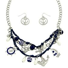 "Anchor Necklace & Earrings Set - Sparkling Crystal - Fish Hook - 18"" Chain"