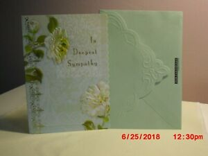 Carol's Rose Garden -  Sympathy card - Two White flowers on front
